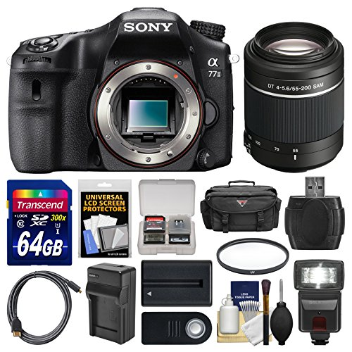 Sony Alpha A77 II Wi-Fi Digital SLR Camera Body with 55-200mm Lens + 64GB Card + Case + Flash + Battery & Charger + Kit /Black Color