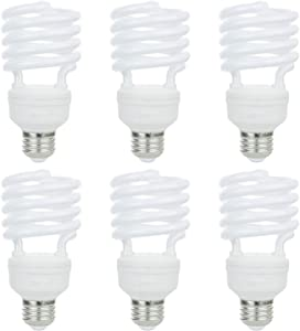 Sunlite 41158-SU Compact Fluorescent T2 Spiral Standard Household Energy Saving CFL Light Bulb, 26 Watt, (100W Equivilant) Medium (E26) Base, 41K-Cool White, 6 Pack