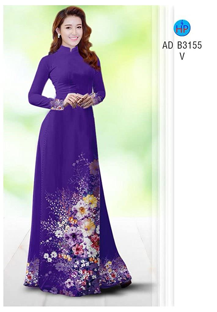 Traditional Vietnamese Long Dress Collections with Pants Ao Dai Silk 3D ADVN00310 All Size