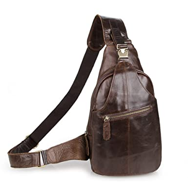 SEALINF Men s Leather Outdoor Chest Cross Body Bag Fanny Backpack