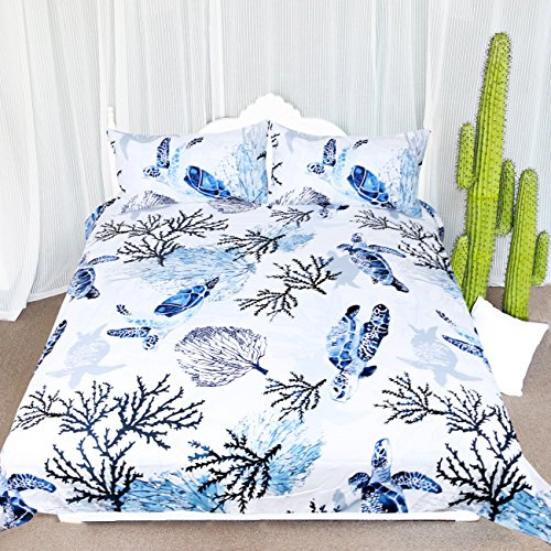 Comforter Hawaiian (ARIGHTEX Honu Sea Turtle Bedding White Indigo Hawaiian Duvet Cover Turtles Bed Set Beach Theme Bed Spread for Summer (King))