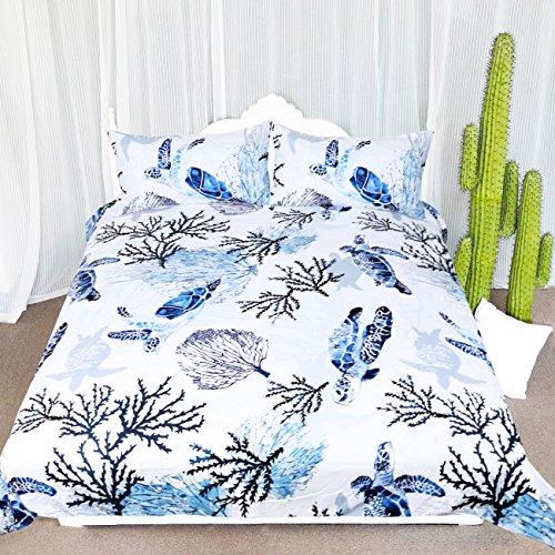 Hawaiian Comforter (ARIGHTEX Honu Sea Turtle Bedding White Indigo Hawaiian Duvet Cover Turtles Bed Set Beach Theme Bed Spread for Summer (King))