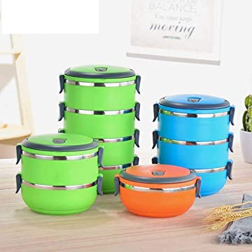 Stainless Steel Insulated Lunch Box Multi-layer Round Student Lunch Box 1PC