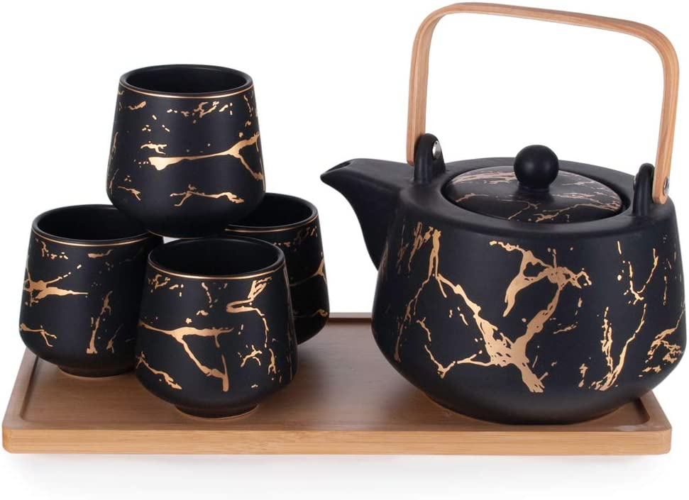 Hinomaru Collection Modern Style Marble Design Porcelain Tea Set 42 fl oz Teapot with Handle and 4 Tea Cups On Wooden Tray Contemporary Tabletop Decor (Black)