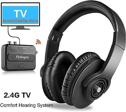 Pohopa - Auriculares inalámbricos para TV, portátiles, con sistema de transmisor para Smart TV, personas mayores con mucho ruido: Amazon.es: Electrónica