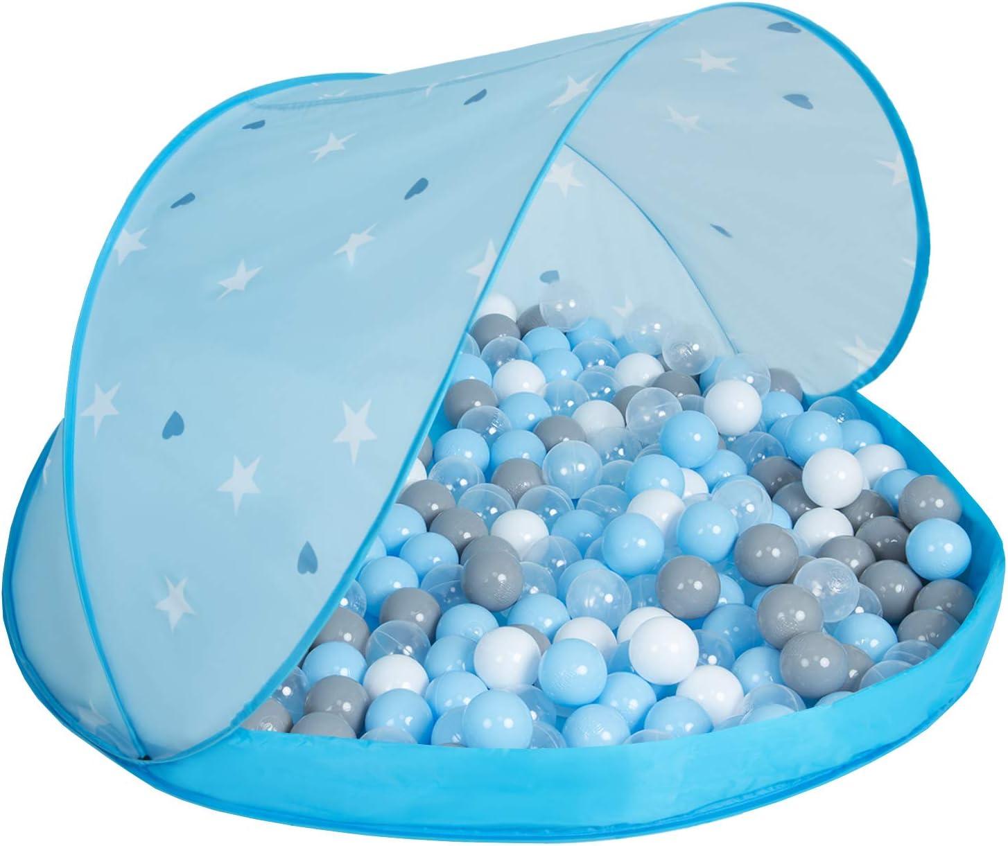 Selonis Tienda 105X90cm//200Bolas De Campa/ña//Castilo Plegable con Bolas Certificadas 6Cm para Ni/ños Azul:Azulclr-Rosaclr-Perla