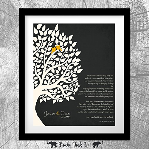 E.E. Cummings Personalized Gift For Anniversary 1st Paper Gift For Couple Family Wedding Poem Tree First 2nd 10th Gift For Mom and Dad 8x10 Unframed Custom Art Print