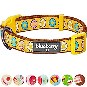 """Blueberry Pet 8 Patterns Summer Party Ideas Sweet Frosted Donut Charming Charisma Designer Dog Collar, Medium, Neck 14.5""""-20"""", Adjustable Collars for Dogs"""