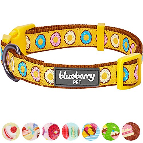 Blueberry Pet 8 Patterns Summer Party Ideas Sweet Frosted Donut Charming Charisma Designer Dog Collar, Medium, Neck 14.5