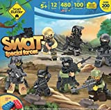 Set Includes 12 Mini Force SWAT TEAM Figures, Tank Unit, Weapons, Plus Military Accessories (Lego Compatible)