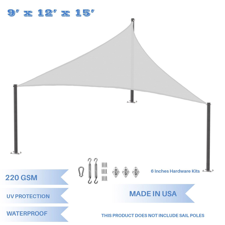 E&K Sunrise 9' x 12' x 15' Waterproof Sun Shade Sail Stainless Steel Hardware Kit -Light Grey Right Triangle UV Block Perfect Canopy Outdoor Garden Backyard-Customized