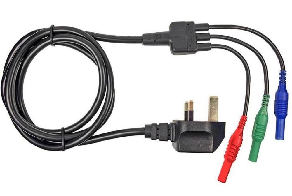 MAINS TEST LEAD CORD - SUITABLE FOR MEGGER MFT1710, MFT1720, MFT1730 & MFT1735 MULTIFUNCTION TESTER - 13A PLUG TO RED, BLUE & GREEN 4mm PLUGS CLIFF ELECTRONICS CCC1363