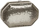 Whiting & Davis Crystal Octagon Minaudiere,Pewter,one size
