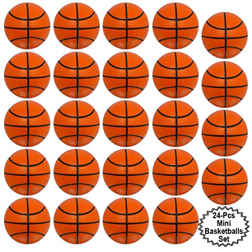 Mini Sports Balls for Kids Party Favor Toy, Soccer Ball, Basketball, Football, Baseball (24 Pack) Squeeze Foam for Stress, Anxiety Relief, Relaxation. (24 Pack (Basketballs)) ()