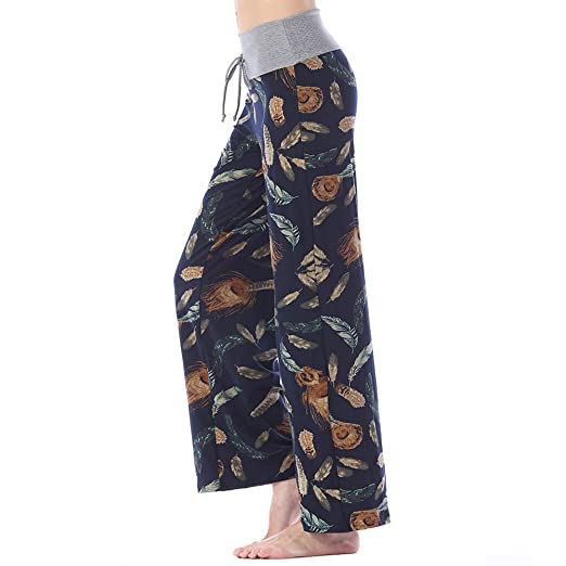 0826d8e992a Women's Comfy Stretchy Pajama Pants Wide Leg Print Palazzo Lounge Pants  Drawstring (Beautiful Feather,