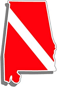 Alabama State Shape Scuba Dive Sticker Diver Down Flag Symbol Vinyl Window Bumper Decal for Cup Boat Tank Car AL Bama