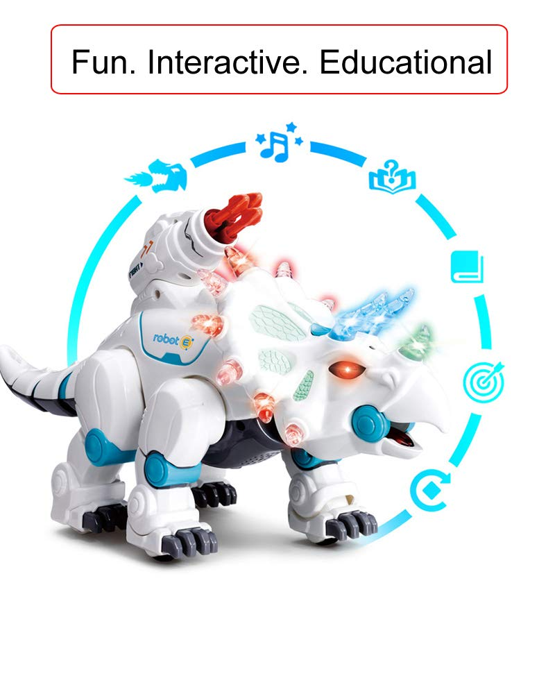 wodtoizi RC Robot Dinosaur Intelligent Remote Control Walking Dinosaur Toy Interactive Educational Dancing Singing Missiles Launching Water Mist Spraying Story Telling Learning Dino Robot Triceratops by wodtoizi (Image #5)
