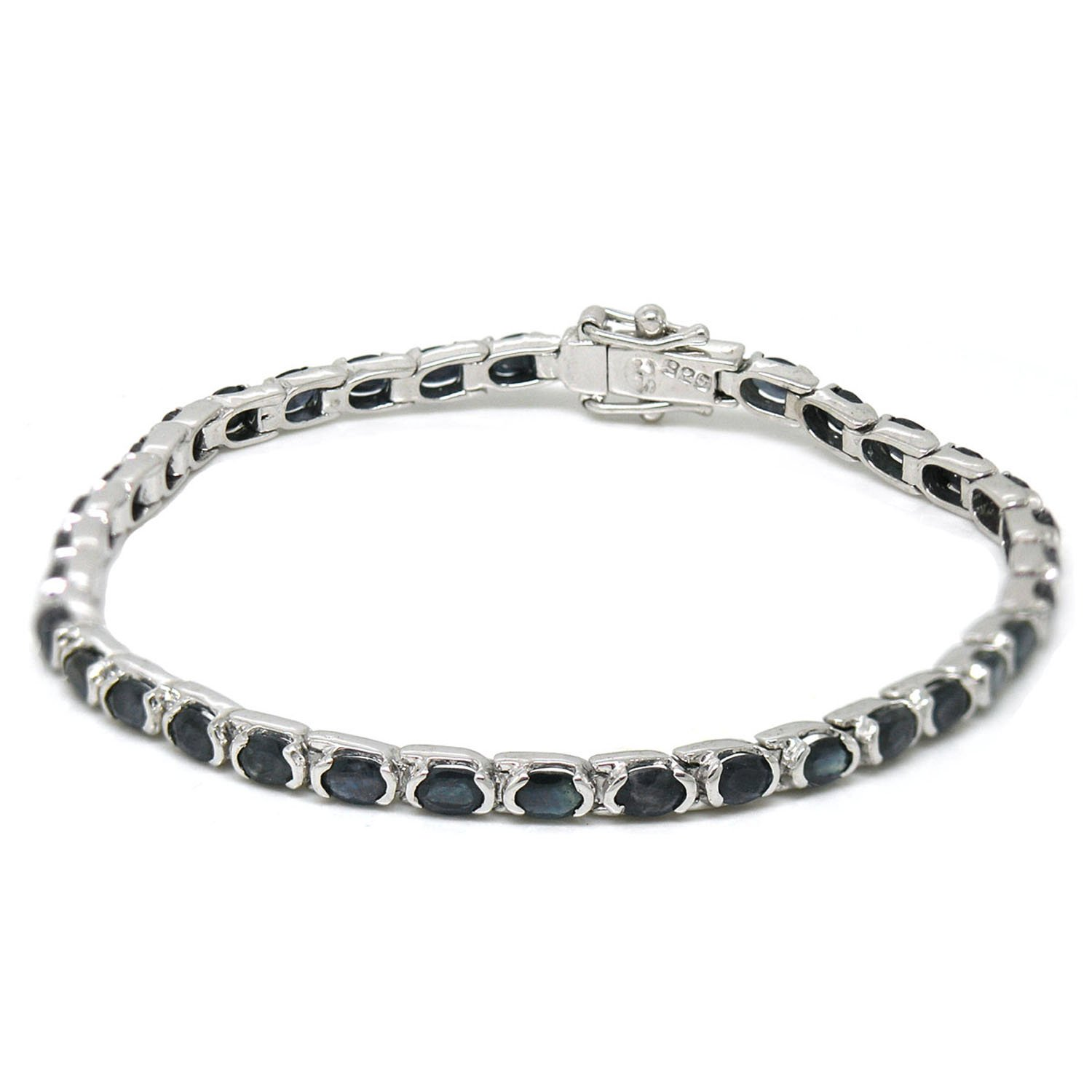 De Buman Sterling Silver Natural Sapphire Bracelet (7 Inches, sterling-silver) by De Buman