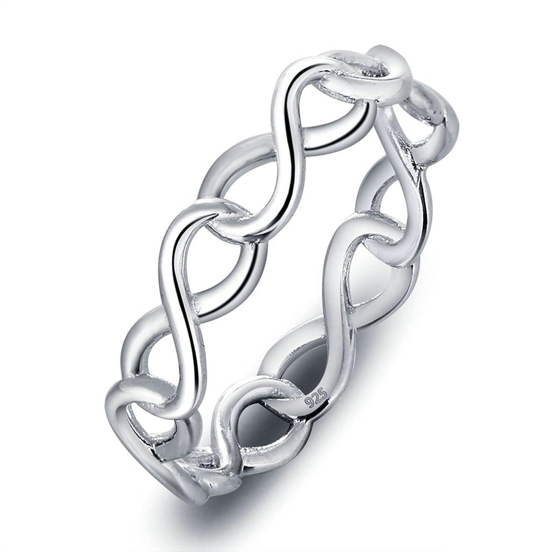 Bishilin S925 Sterling Silber Ringe Ewig Liebe Unendlichkeit Ewigkeit Damen Hochzeit Verlobung Versprechen Band