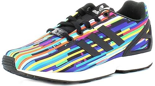 2a0207806da79 adidas Originals ZX Flux J Glitch Graphic Textile Youth Trainers ...