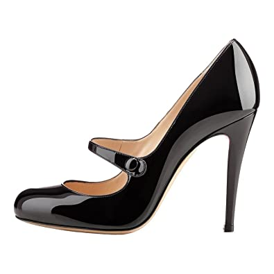 5fb15e005f8 Mermaid Women's Shoes Round Toe Patent Leather High Heel Mary Jane Pumps