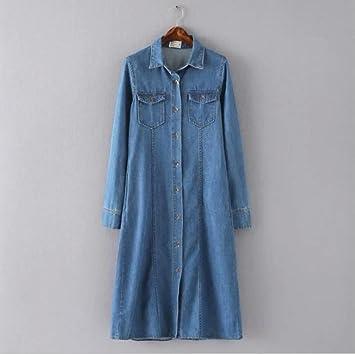 Vintage lavado falda vaquera de denim vestido camisa larga . s