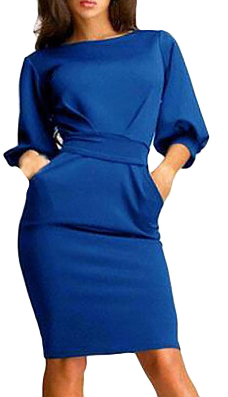Laisla fashion Kleid Damen Elegant Frühling Sommerkleid Business Kleid Bleistiftkleid Knielang 3/4 Ärmel Rundhals Strappy Unifarben Mode Etuikleid Partykleid