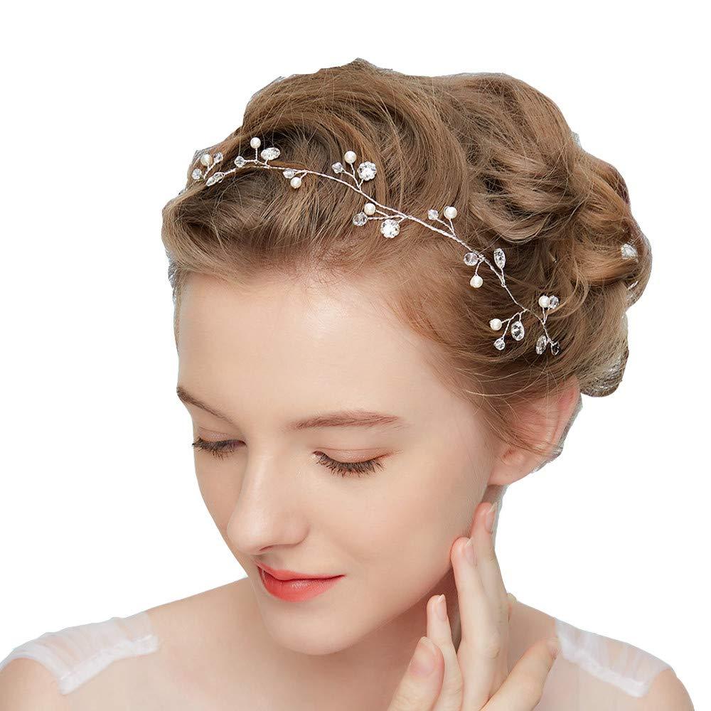 Dohuge Blumen Haarschmuck Vintage Braut Rebe Stirnbänder Strass Perlen Blumen Hochzeit Haarteile Hochzeit Stirnband Haarband Haarspangen Hochzeit Haarschmuck D220 DH-046-MD220