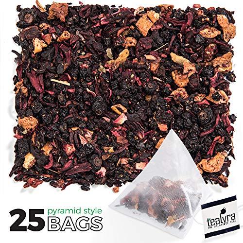 Tealyra - Grandmas Garden Berry - 25 Bags - Fruit Tea Blend - Hibiscus and Berries Based Herbal Loose Leaf Tea - Vitamines Rich - Caffeine-Free - Pyramids Style Sachets