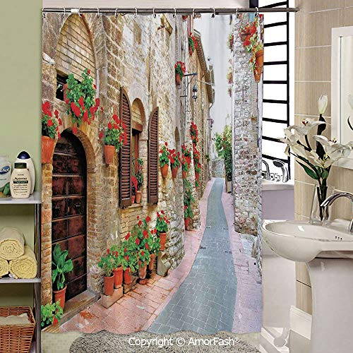 Tuscan,Bathroom Decoration Cozy Lovely Decor Pleasing Peculiar Design Hand Drawing Effect Fabric Shower Curtain,69