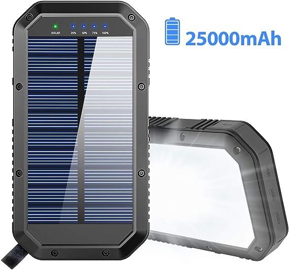 Amazon.com: Cargador solar, batería solar de 25000 mAh ...