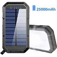 $46 » Solar Charger, 25000mAh Battery Solar Power Bank Portable Panel Charger with 36 LEDs and 3 USB…