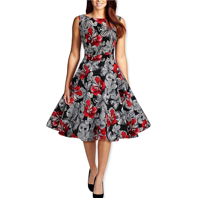 WintCO Damen Retro Kleid Audrey Hepburn Rockabilly 50er Abendkleid mit Blumenmuster Vintage-Kleid