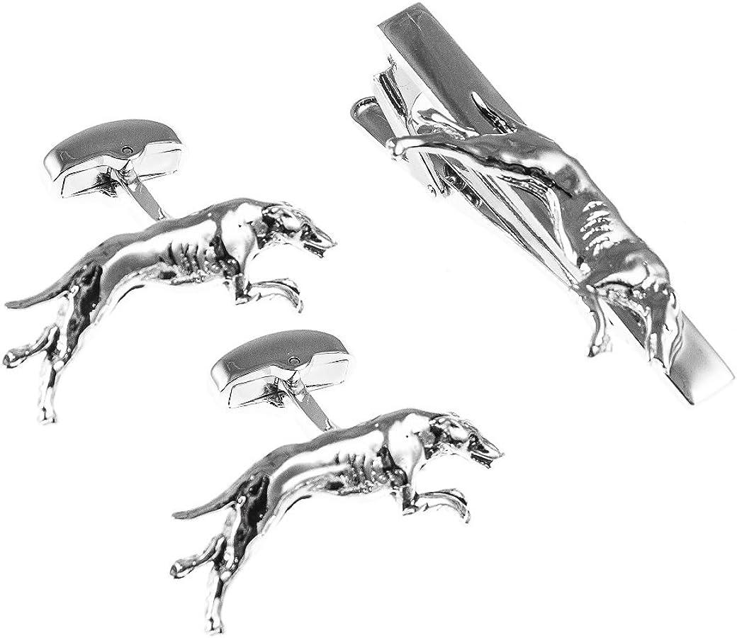 MRCUFF Greyhound Cufflinks Pair of Cufflinks & Tie Bar Clip with Presentation Gift Box & Polishing Cloth