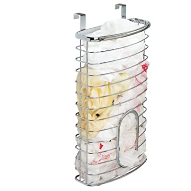 mDesign Metal Over Cabinet Kitchen Storage Organizer Holder or Basket - Hang Over Cabinet Doors in Kitchen/Pantry - Holds up to 50 Plastic Shopping Bags - Chrome