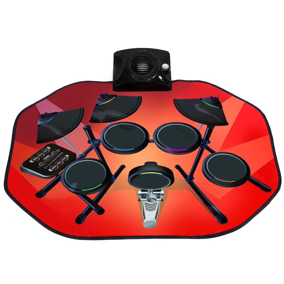 USA_BEST_SELLER Electronic Glowing Play Drum Mats Kit Set with MP3 Cable Great Holiday Birthday Gift for Kids by USA_BEST_SELLER (Image #1)