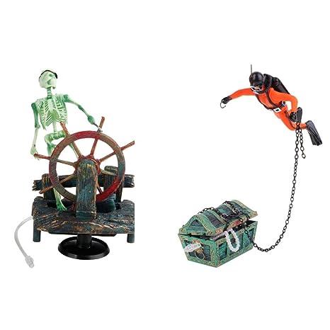 Baoblaze 2X Decoraciones de Tanque Peces Acuario Tesoro Buzo Esqueleto Accesorios Adornos