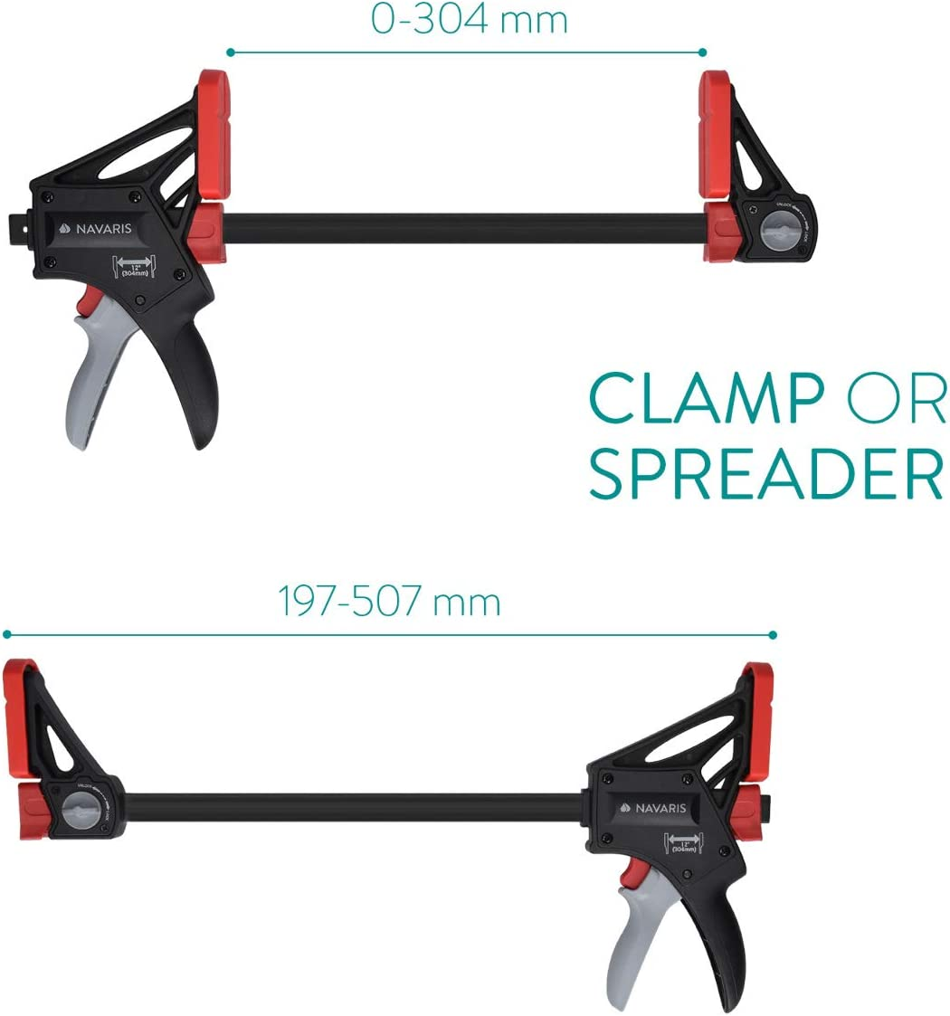 Heavy Duty Steel One-Handed Bar Clamp Spreader Tool Navaris One Hand Clamp Spreader 12 Inch // 30 cm Quick-Grip Clamp with 180 kg Clamping Force
