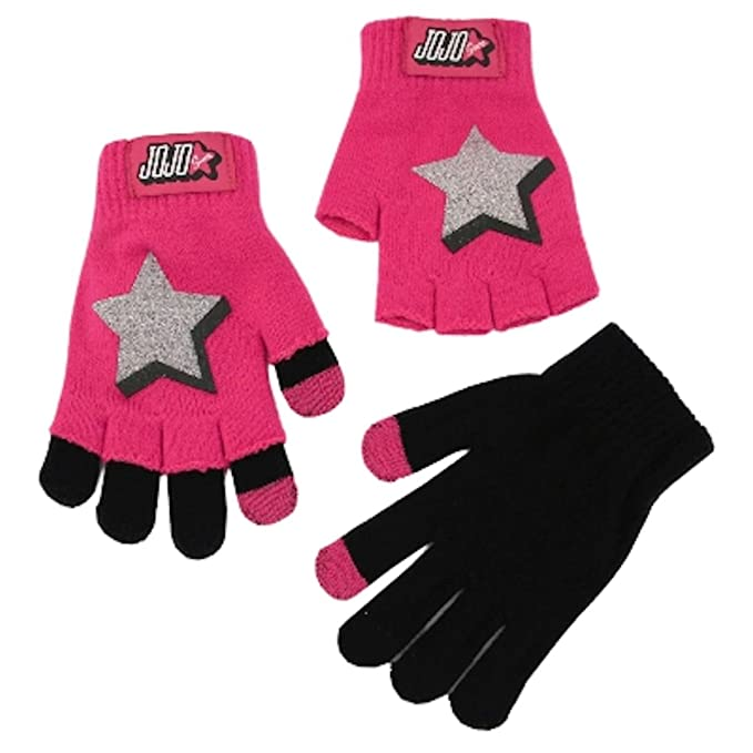 0eb65abf1c9 Image Unavailable. Image not available for. Color  JoJo Siwa Girls Star 2-in-1  Knit Gloves