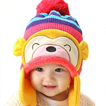 bfd4b749cdc VANKER Lovely Kid Baby Toddler Winter Warm Monkey Pom Pom Beanie Hat  Earflap knitting Wool Cap