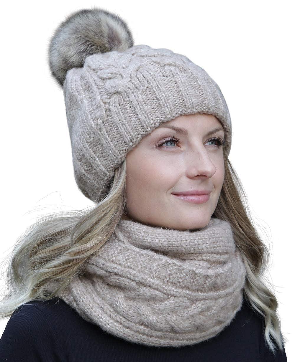 Hilltop set combo invernale con sciarpa e berretto in maglia coordinato (berretto con pompon)