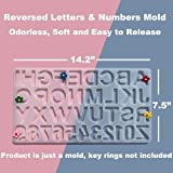 Reversed Resin Casting Alphabet Mold, Dailit Sturdy Letter & Number Silicone Mold for Epoxy Resin Crafts, Resin Keychains, Crayons, Soap, Clay Crafts, Key Rings not Included