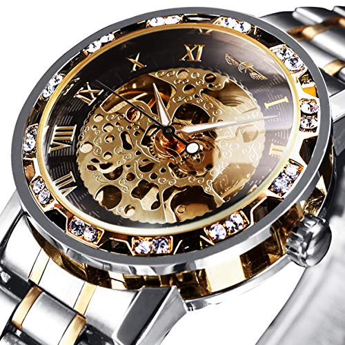 Mechanical Stainless Steel Wrist Watch - Watches, Men's Watches Mechanical Skeleton Classic Luxury Fashion Stainless Steel Self-Winding Waterproof Steampunk Dress Watch Gold