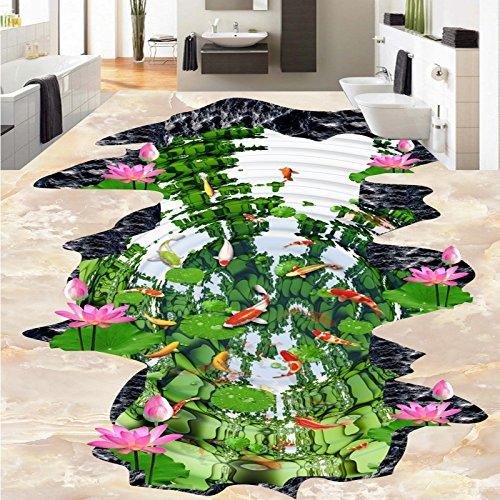 LHDLily Lotus Pond Nine Fish Figure Lotus Floor 3D Outdoor Painting Thickened Non-Slip Bathroom Living Room Flooring Mural ()