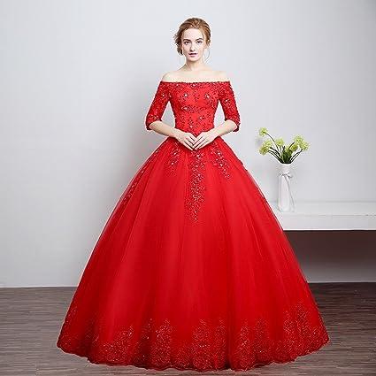 DHG Vestido de Novia con Hombros Descubiertos Toast Dress Red,Rojo,XXL