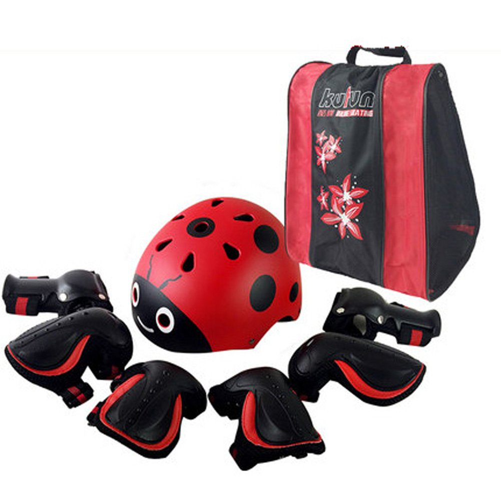 JIANGU Skaten schutzausrüstungen Kinder Helm Set Fahrrad Skateboard Skates Balance Auto Knie Handgelenk Ellenbogen Double Krawatte System anti-fall EPS