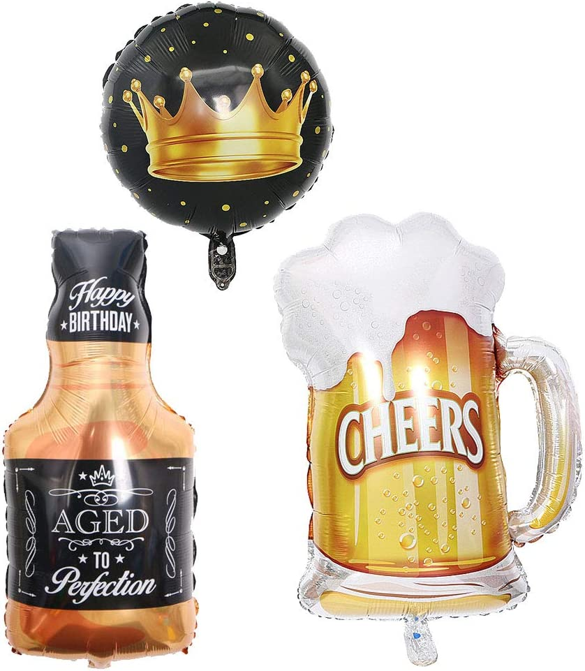 """Frosty Beer Mug 23"""" Giant Foil Balloon 35 """" Aged To Perfection Whiskey Bottle Super Shape Mylar Foil Balloon, Engagement Decorations,Black/Brown (Beer)"""