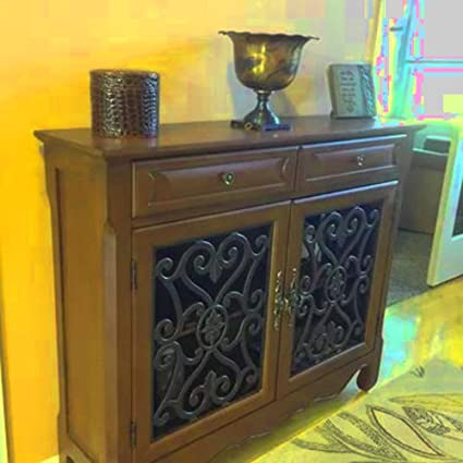 Multipurpose Storage Cabinet Cherry Wood Rustic Console Table Entryway  Living Room Doors Shelves Top Furniture U0026