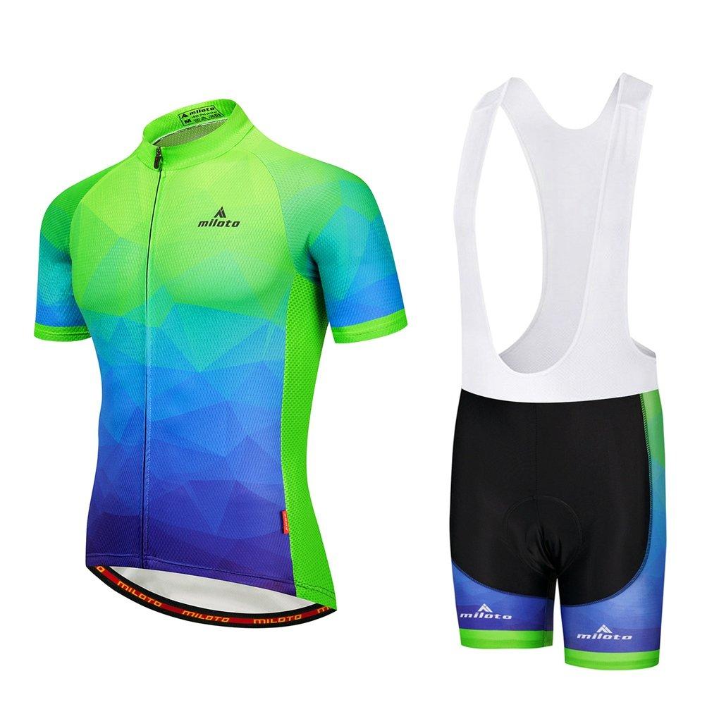 Uriahメンズ自転車ジャージーホワイトBib Shortsセット半袖通気性 B07BKS22K6 Chest 40.9''=Tag L|蛍光グリーン(Fluorescence Green) 蛍光グリーン(Fluorescence Green) Chest 40.9''=Tag L