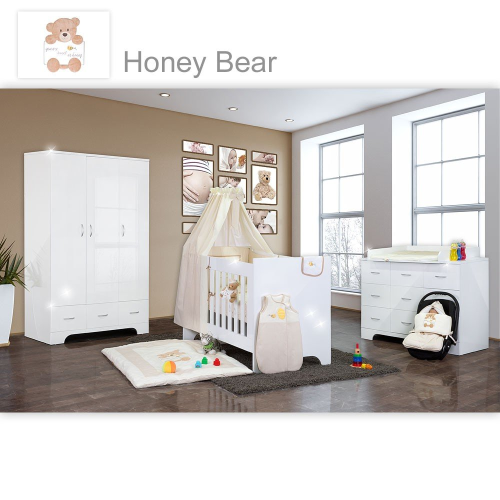 Hochglanz Babyzimmer Memi 21-tlg. mit Textilien von Honey Bear in Beige